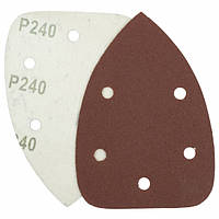 Треугольная шлифовальная шкурка на липучке Velcro  Polystar Abrasive 140 мм, P240 (с отв.)
