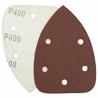 Треугольная шлифовальная шкурка на липучке Velcro  Polystar Abrasive 140 мм, P400 (с отв.)