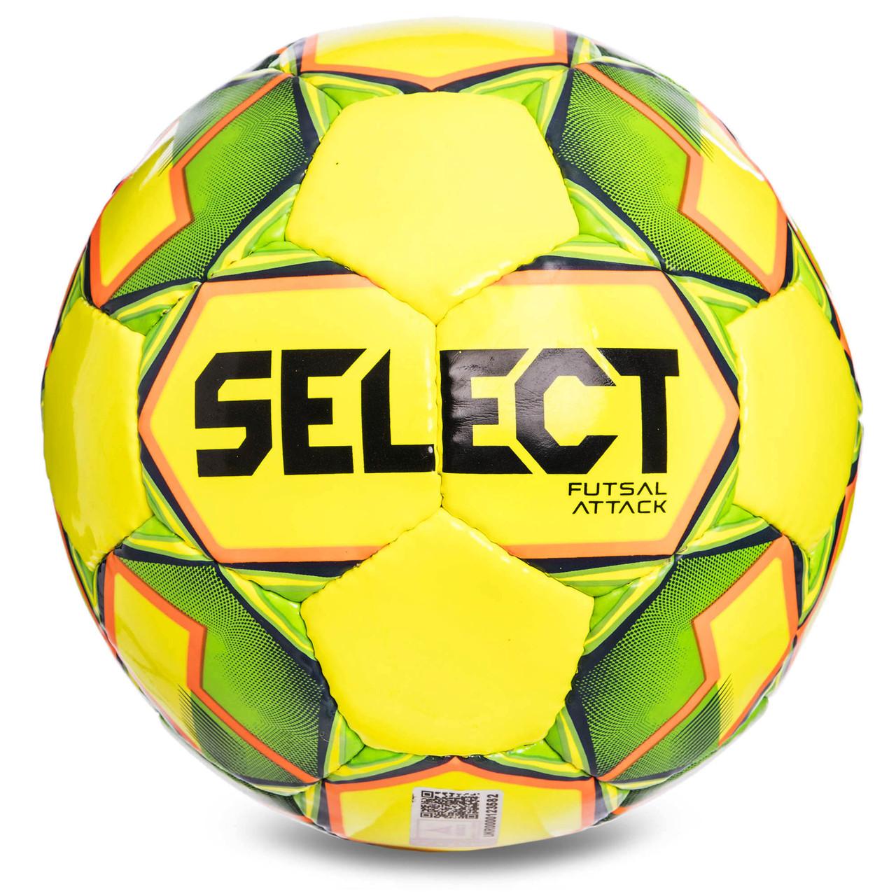 Мяч футзальный №4 SELECT FUTSAL ATTACK (FPUG 1100, желтый-зеленый-оранжевый)