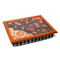 Піднос на подушці BST 710053 44*36 коричневий помаранчевий шоколад горіхи