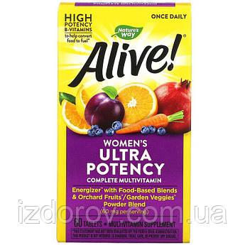 Nature's Way, Alive! Once Daily, ультра-эффективные мультивитамины для женщин, 60 таблеток