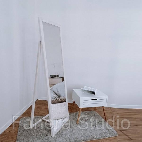 Зеркало напольное в деревянной раме сосна белая
