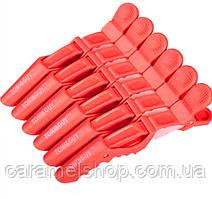 Затискач качечка крокодильчик для волосся перукарня пластмаса 11 см Toni&Guy - упаковка 6 шт ЧЕРВОНИЙ