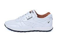 Мужские стильные кожаные кроссовки Reebok Classic White Pearl белые