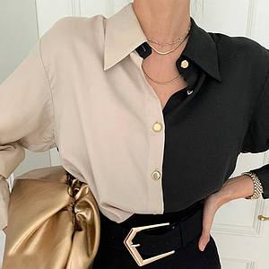 Блузка на гудзиках двоколірна вільного фасону рукави з манжетами