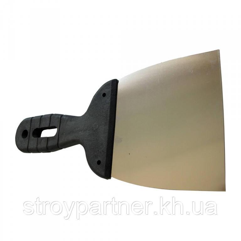 Шпатель нержавіючий з пластиковою ручкою Бригадир (100 мм)