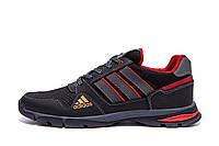 Мужские летние кроссовки из натуральной кожи и сетки Adidas Tech Flex Black черные