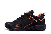 Мужские летние кроссовки из натуральной кожи и сетки Adidas Terrex черно-оранжевые