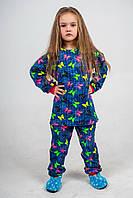 Пижама детская на флисе синяя с бабочками