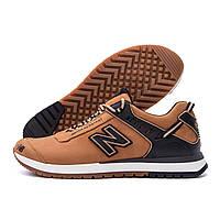 Стильные мужские демисезонные кожаные кроссовки NB Clasic рыжие