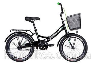 """Велосипед Formula - Smart Vbr с корзиной (2021) (20""""-13"""") Черный/Зеленый"""