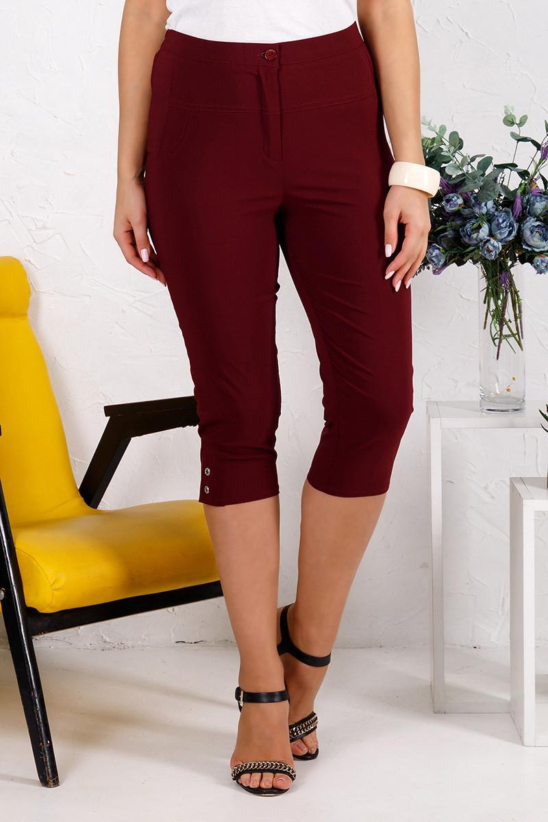 Літні жіночі капрі бордового кольору великого розміру