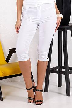 Літні жіночі стрейчеві капрі білого кольору великого розміру