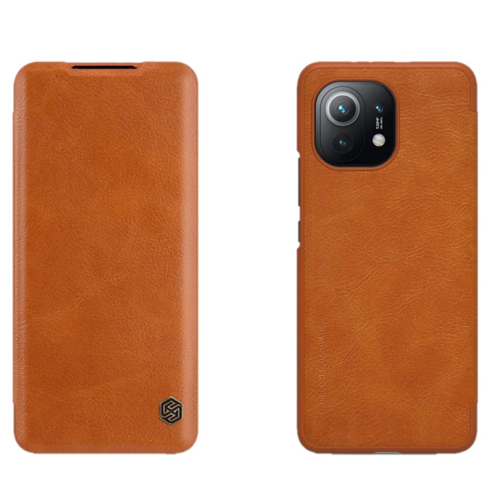 Захисний чохол-книжка Nillkin для Xiaomi Mi 11 (Qin leather case) Brown Коричневий