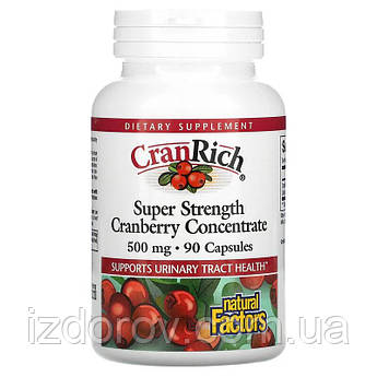 Natural Factors, CranRich, Журавлина концентрат 500 мг, Cranberry Concentrate, 90 капсул