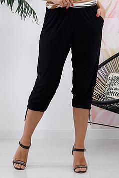Літні жіночі капрі чорного кольору великого розміру