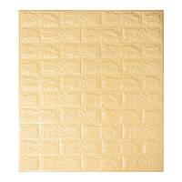 Самоклеюча декоративна 3D панель жовто-пісочний цегла 700х770х5мм