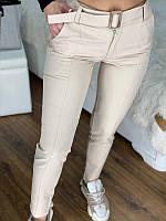 Жіночі класичні штани з поясом Білі, фото 1