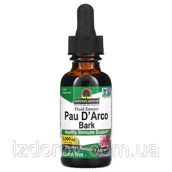 Nature's Answer, Пау Д'Арко, Безалкогольный экстракт муравьиного дерева Pau D'Arco, 2000 мг, 30 мл