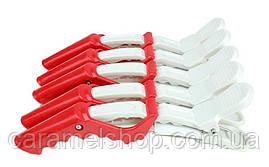 Затискач качечка крокодильчик для волосся перукарня пластмаса 11 см CROC 17 - упаковка 5 шт ЧЕРВОНИЙ