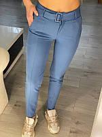 Жіночі класичні штани з поясом Блакитні, фото 1