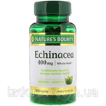 Nature's Bounty, Эхинацея 400 мг, экстракт в капсулах для повышения иммунитета, Echinacea, 100 шт