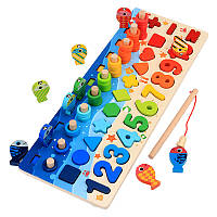 Подарок для ребенка детская деревянная развивающая игрушка геометрика рыбалка Монтессори