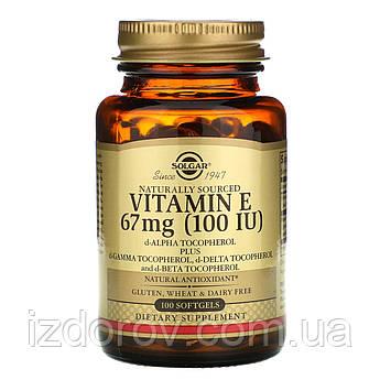 Solgar, Натуральный витамин Е, 67 мг (100 МЕ), 100 капсул