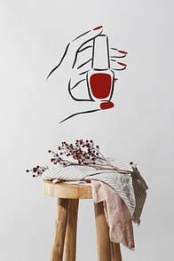 Интерьерная виниловая наклейка на стену Лак для маникюра (на ногти, дизайн ногтей, мастер маникюра)