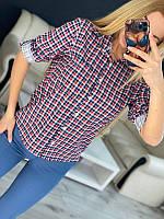 Женская клетчатая рубашка Красно-синяя, фото 1