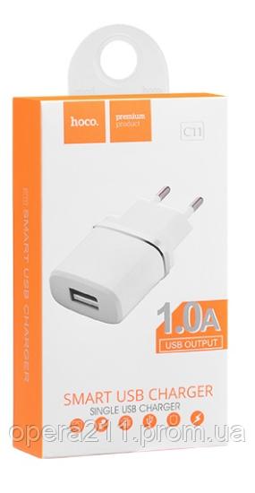 Сетевое зарядное устройство HOCO C11 (1A -- 1USB) (100шт)