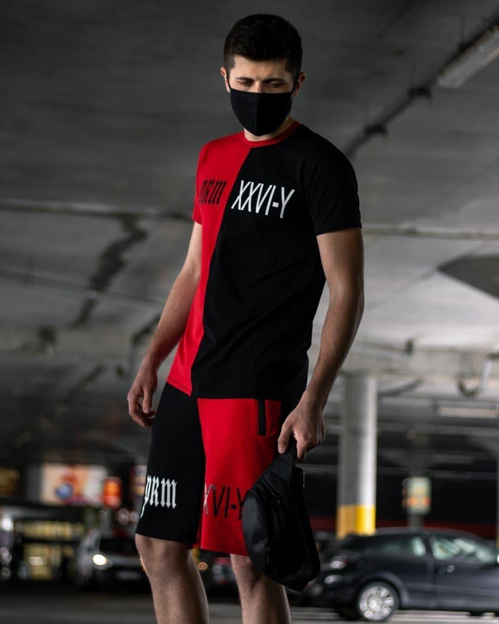 Мужской спортивный летний костюм красно-черный, комплект футболка и шорты высокого качества