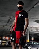 Мужской спортивный летний костюм красно-черный, комплект футболка и шорты высокого качества, фото 1