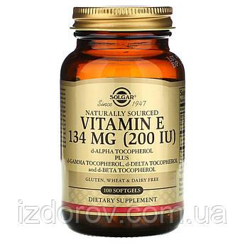 Solgar, Натуральный витамин Е, 134 мг (200 МЕ), 100 капсул