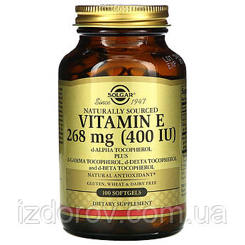 Solgar, Натуральный витамин Е, 268 мг (400 МЕ), 100 капсул