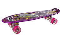 """Скейтборд Profi """"MS 0749-6"""" з підсвіткою коліс 10 видів 55*14,5 см різнобарвний 0749-6"""