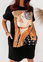 Летние платья - 25535 - Стильное летнее платье футболка туника хлопковая