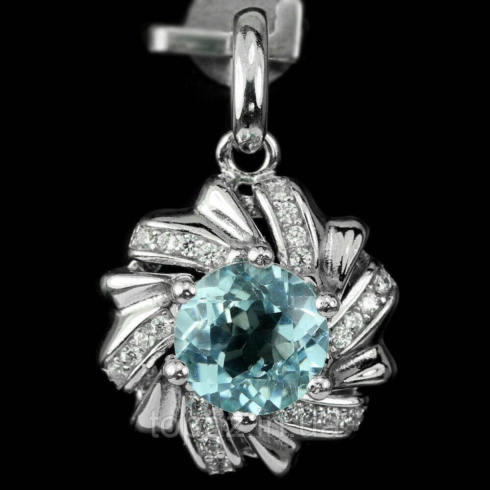 Підвіска срібна 925 натуральний блакитний топаз (SKY BLUE), цирконій.