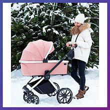 Детская универсальная коляска CARRELLO Optima CRL-6503 (2in1) Hot Pink розовая в льне резиновые колеса
