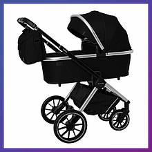 Дитяча універсальна коляска CARRELLO Optima CRL-6503 (2in1) Leather Black чорна в льоні гумові колеса