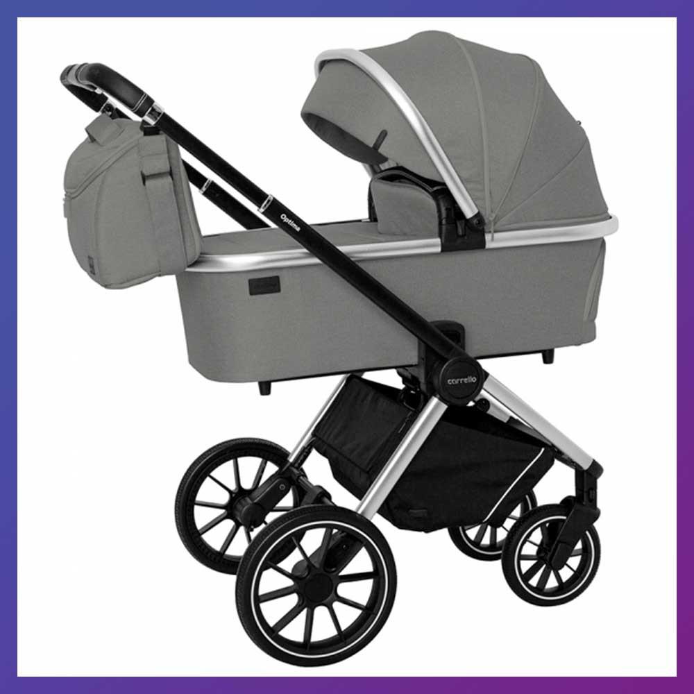 Детская универсальная коляска CARRELLO Optima CRL-6503 (2in1) Mirror Grey серая в льне резиновые колеса