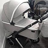 Детская универсальная коляска CARRELLO Optima CRL-6503 (2in1) Mirror Grey серая в льне резиновые колеса, фото 4