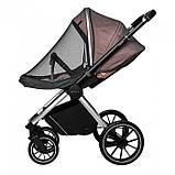 Детская универсальная коляска CARRELLO Optima CRL-6503 (2in1) Mirror Grey серая в льне резиновые колеса, фото 5