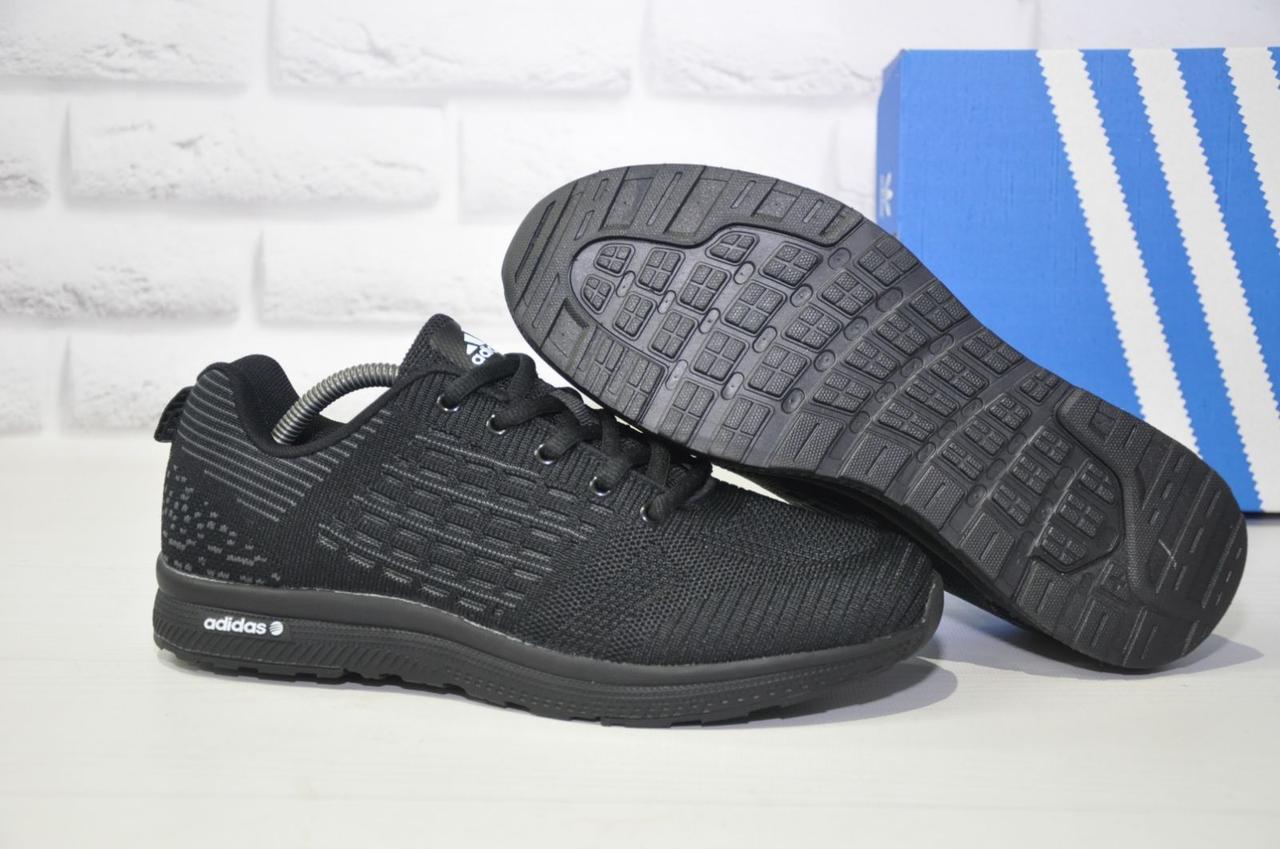 Легкі чоловічі чорні кросівки сітка в стилі Adidas