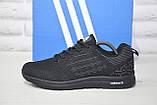 Легкі чоловічі чорні кросівки сітка в стилі Adidas, фото 3