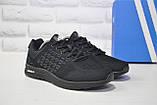 Легкі чоловічі чорні кросівки сітка в стилі Adidas, фото 4