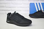Легкі чоловічі чорні кросівки сітка в стилі Adidas, фото 5