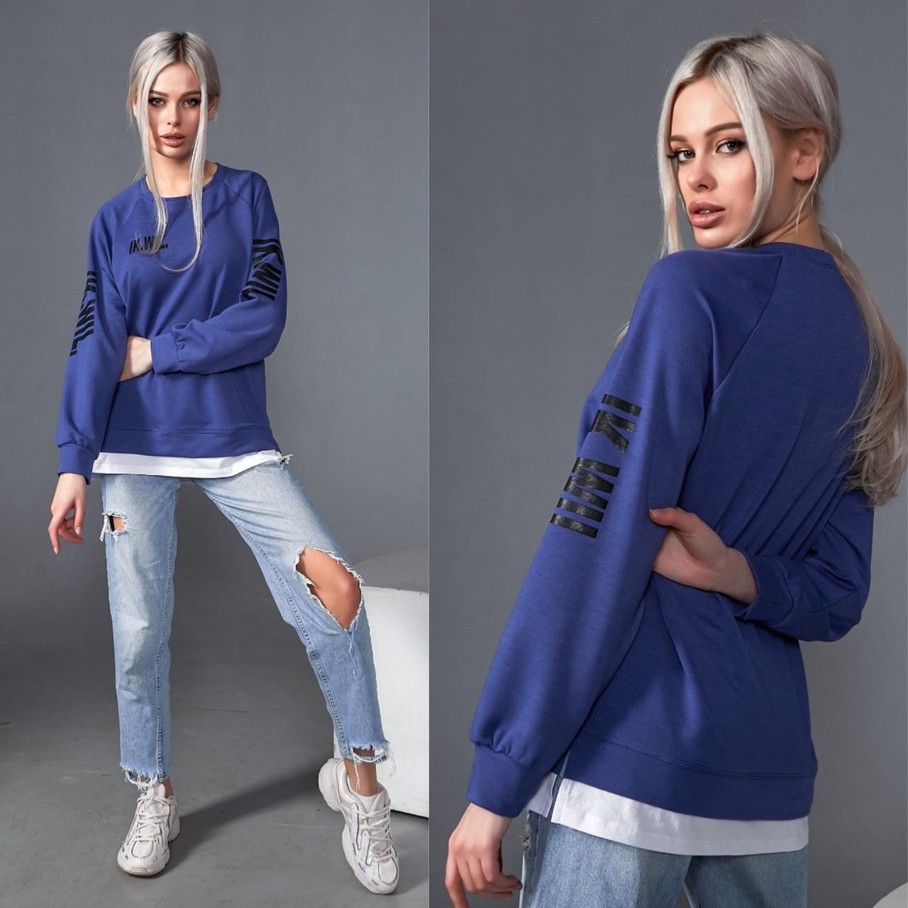 Синий женский свитшот с фальш-футболкой 35-173-3