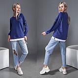Синий женский свитшот с фальш-футболкой 35-173-3, фото 4