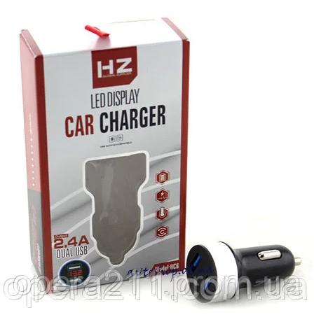 Зарядка Адаптер CAR USB HC6 (Вольтметр-2.4) HZ (200шт)